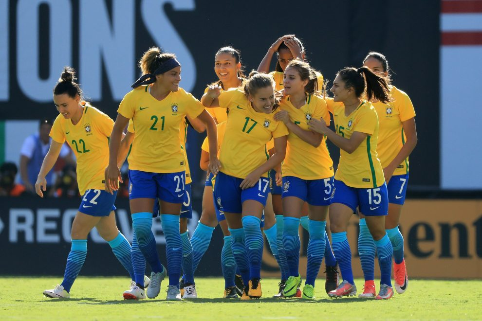 SAN DIEGO, CA - JULY 30:  Jucinara #22, Monica #21, Djenifer #5, Leticia #15, Gabi Nunes #7 and Andressinha of Brazil celebrate a goal against the United States during the first half of a match in the 2017 Tournament of Nations at Qualcomm Stadium on July 30, 2017 in San Diego, California.  (Photo by Sean M. Haffey/Getty Images)